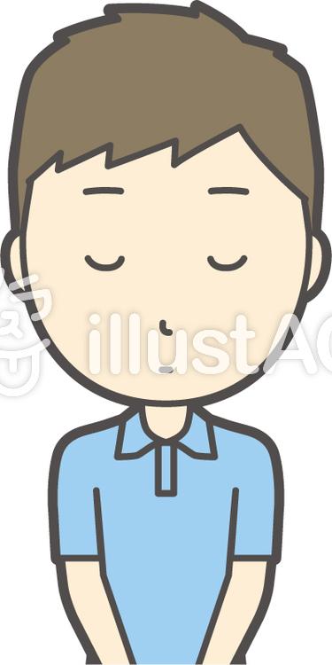 青ポロシャツ男性-036-バストのイラスト