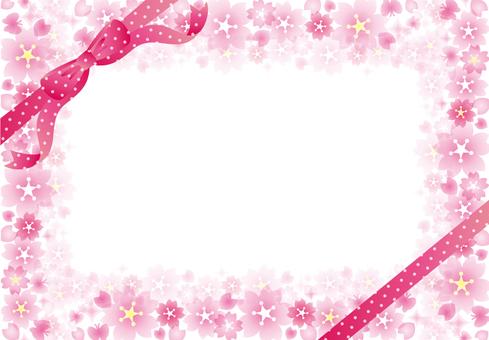 Sakura glittering frame ribbon