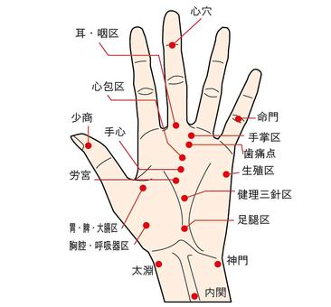 List of points on the palm
