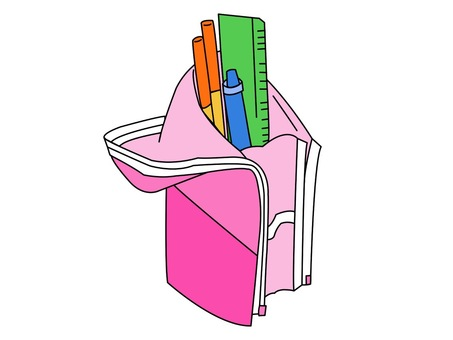 Illustration of a self-supporting pencil case
