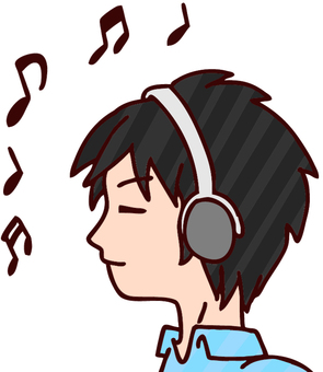 Illustration of a young man listening to music