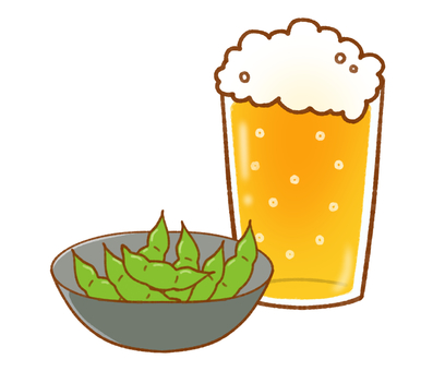 Set of beer and edamame