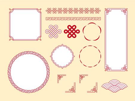 シンプルな中華風素材セット