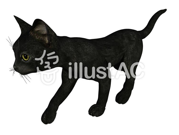 歩く子猫(黒猫)のイラスト