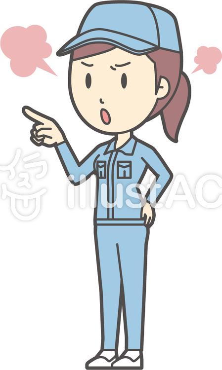 作業員女性ブルー-265-全身のイラスト