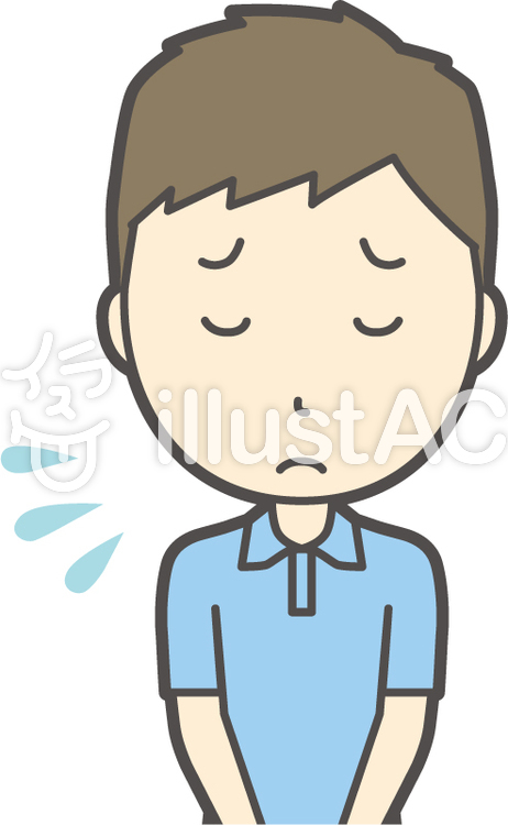 青ポロシャツ男性-032-バストのイラスト