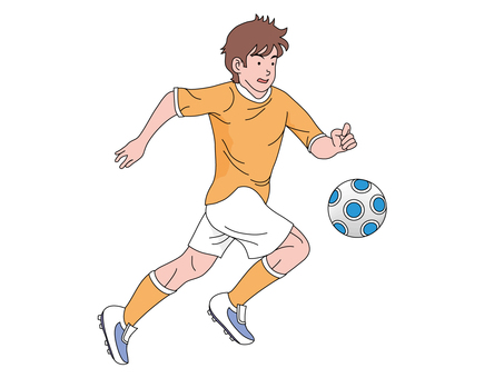 Soccer player chasing the ball