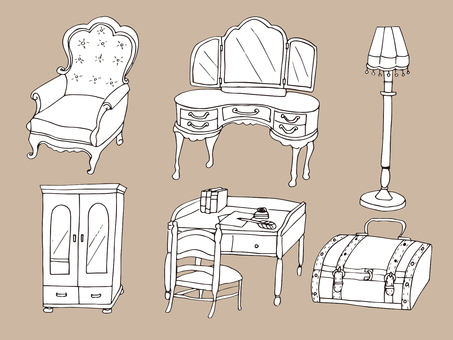 Antique furniture (line drawing)