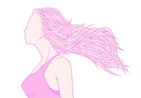 핑크색이 휘날리는 머리카락