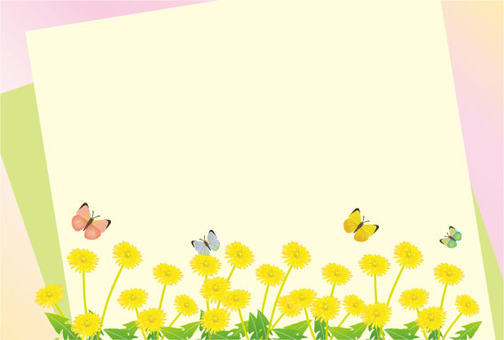 Dandelion flower garden and a butterfly postcard