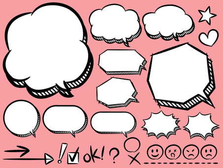 Speech bubble (three-dimensional summary) & amp; symbol & amp; face