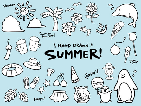 Summer simple hand drawn line art illustration material