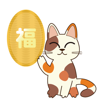 The image of the lucky cat (There is a letter of blessings in Ogre)