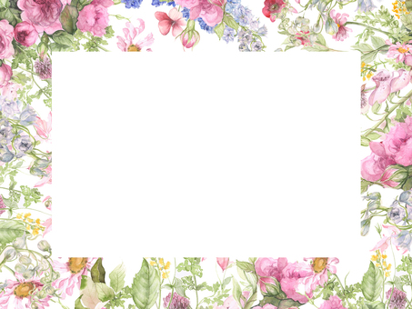 Floral frame of pink flowers - clipping