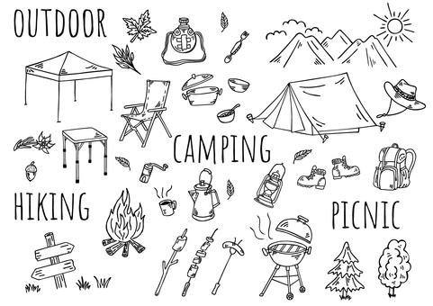 Hand-drawn illustration: camping