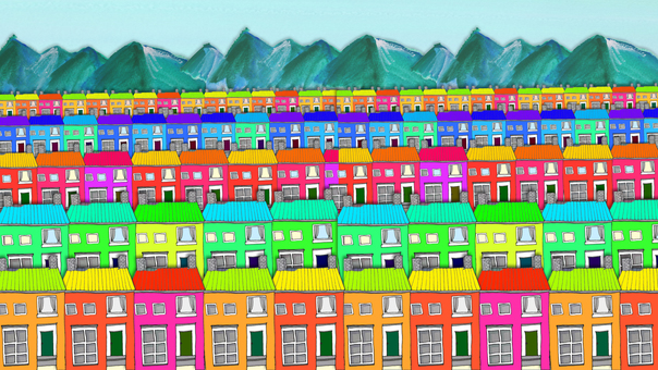 The town of colorful building