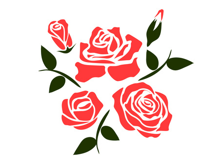 Rose flowers (stencil style)