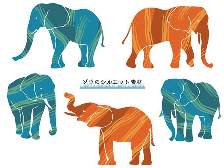 大象剪影素材(顏色)