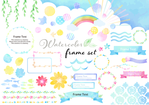 Watercolor material 040 summer illustration set