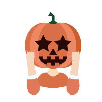 A person wearing a pumpkin head