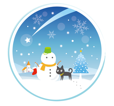 Cat and snowman and tree