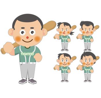 Baseball player (no hat) set