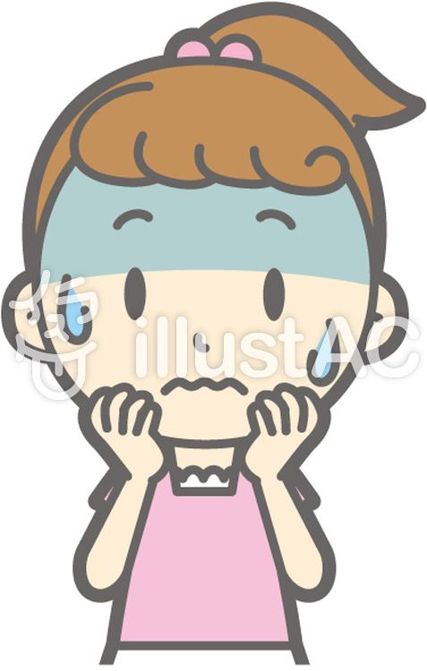 女の子半袖a-緊張-バストのイラスト