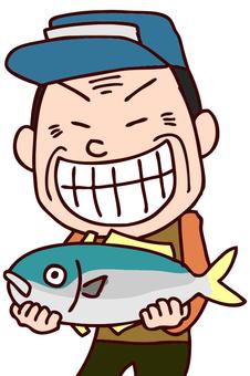 Illustration of men holding fish