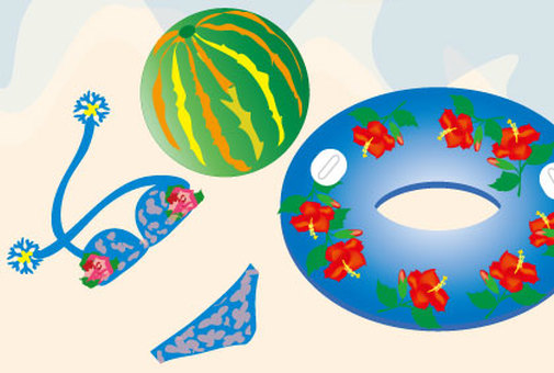 Watermelon Beach ball and a summer sea of ​​swimwear and swimming rings