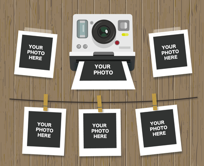 Instant camera and photo set