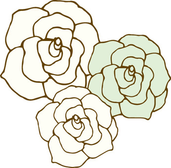 Flower (rose · white 3 pieces)