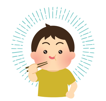Illustration of a boy who eats delicious food