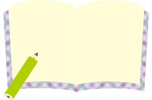 귀여운 노트와 연필 연두색