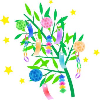 Tanabata bamboo leaf illustration