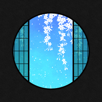 Watercolor round window material cherry blossom / blue