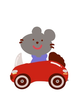 A mouse in a car