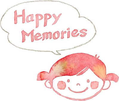 Happy memories girl with speech bubble