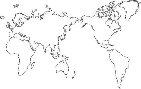 World map (monochrome, black and white)
