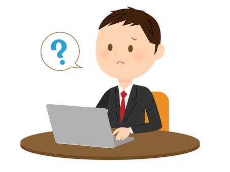 Men with suit using laptop computer 3