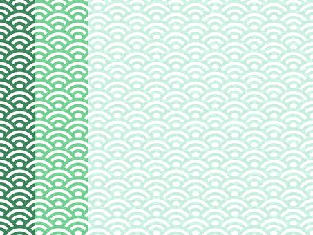 일본식 디자인 원활한 패턴 집 칭하이 파 03 / 녹색