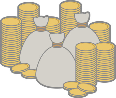 Plain bags and a lot of coins