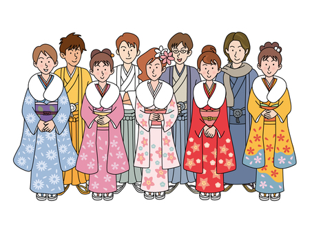 Young men and women in Japanese clothes