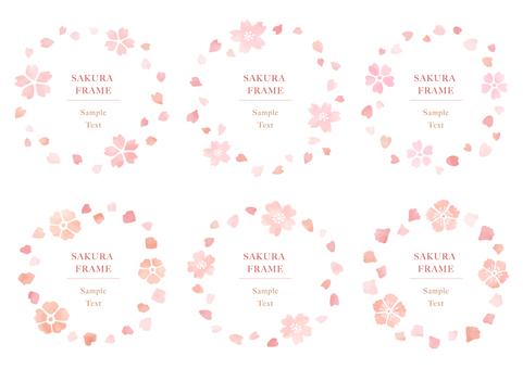 수공 벚꽃 프레임 5 수채화