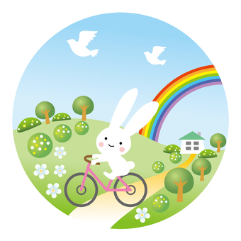 Usagi, Rainbow and Bicycle