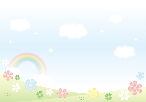 Sky and rainbow and flower