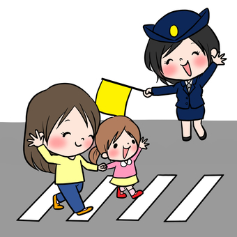 Traffic safety policeman crosswalk introduction