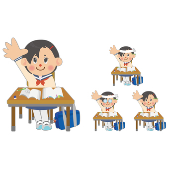 Female student (raising hand) set
