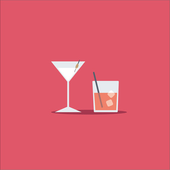 Cocktail glass & tumbler illustration