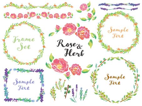 Rose and herb frame set
