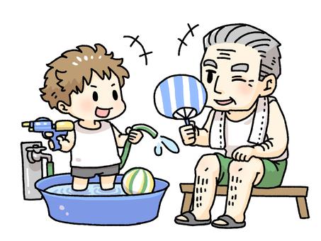 Grandpa and grandchildren playing water